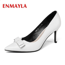 ENMAYLA Genuine Leather Pointed Toe Casual Thin Heels Slip-On Tacones Mujer Sexy Heels Calzado Mujer Size 34-39 ZYL2067