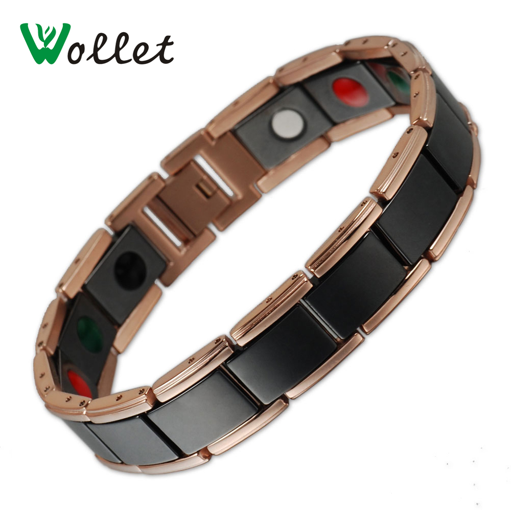 Health Care Bio Rose Gold Black Ceramic Bracelet Bangle Men 5 in 1 Magnets Tourmaline Infrared Germanium Negative Ion цена