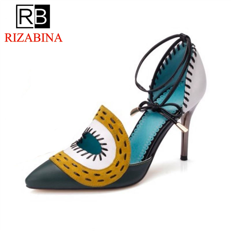 RizaBina free shipping quality genuine leather high heel sandals platform women fashion lady female shoes R4470 EUR size 34-39 sandals genuine leather new woman s shoes high heel 10cm platform 1cm female summer small yards small yards eur size 34 39 page 5