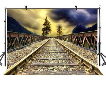 150x220 см персональная тема вечерние рельсы поезда и освещение Ночной пейзаж для персональных вечерние студии экран