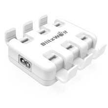 BlitzWolf EU US AU UK High Speed 50W Smart 6 Port Desktop Universal Micro USB Charger USB Adapter With Power3S Tech