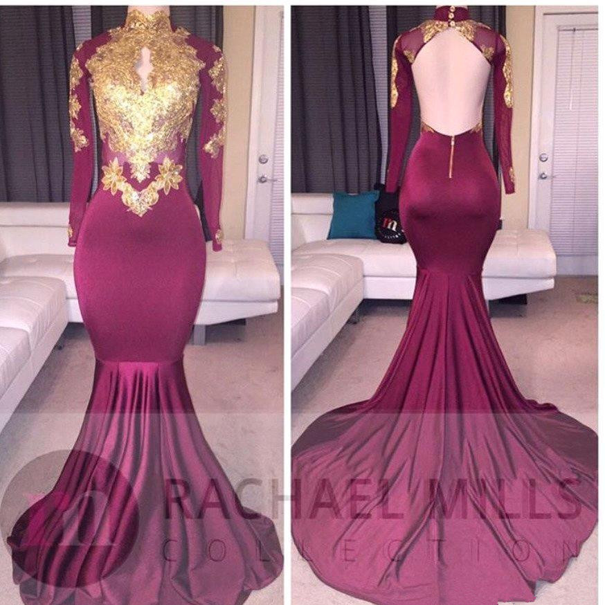 Burgundy African Prom Dress Mermaid 2017 Backless Long Sleeves Arabic Evening Dresses Formal Party Gowns Vestido De Festa
