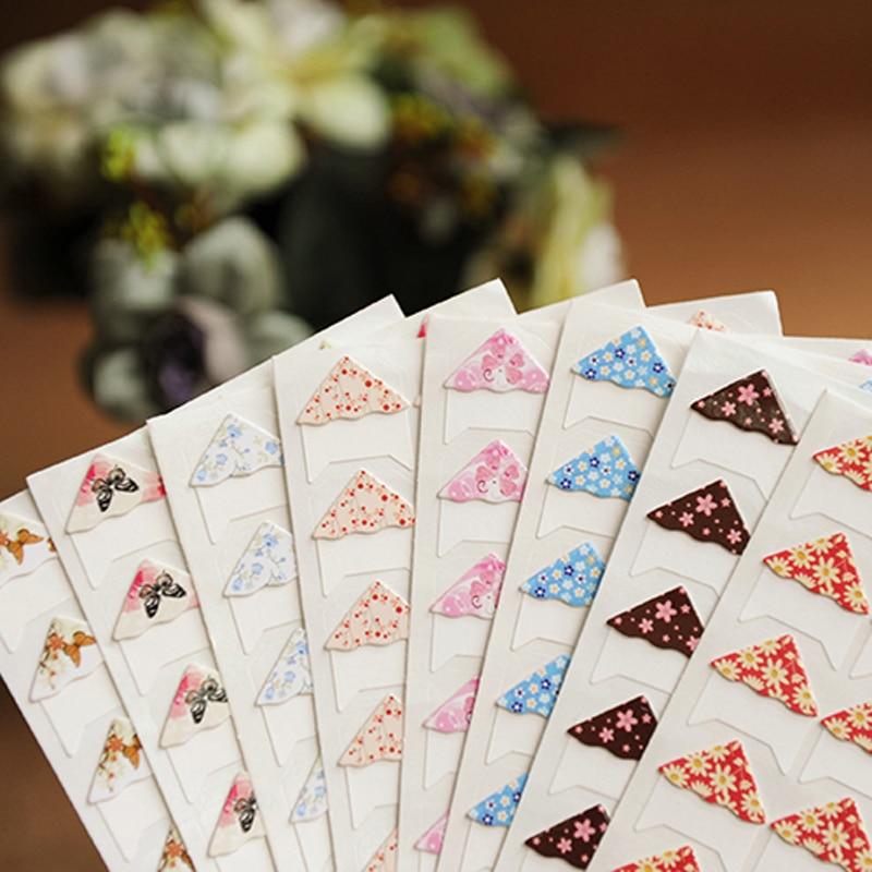24 pcs/lot DIY Floral Print Corner Paper Stickers for Photo Albums handwork Frame Decoration Scrapbooking Wholesale 8 color