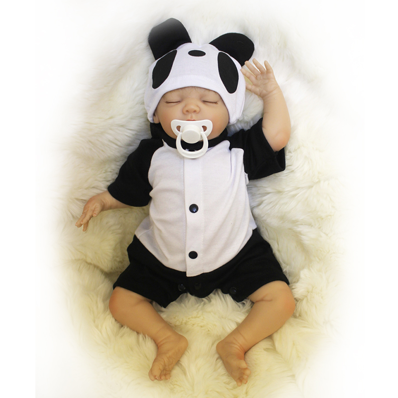 Nicery 16-18inch 40-45cm Bebe Doll Reborn Soft Silicone Boy Girl Toy Reborn Baby Doll Gift Panda Clothes nicery 18inch 45cm reborn baby doll magnetic mouth soft silicone lifelike girl toy gift for children christmas pink hat close
