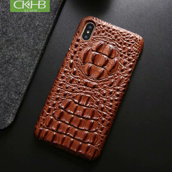 CKHB Genuine Leather Cover Case For iPhone XS Max Luxury 3D Crocodile head Pattern Phone Case For iphone X XR Back Cover Case