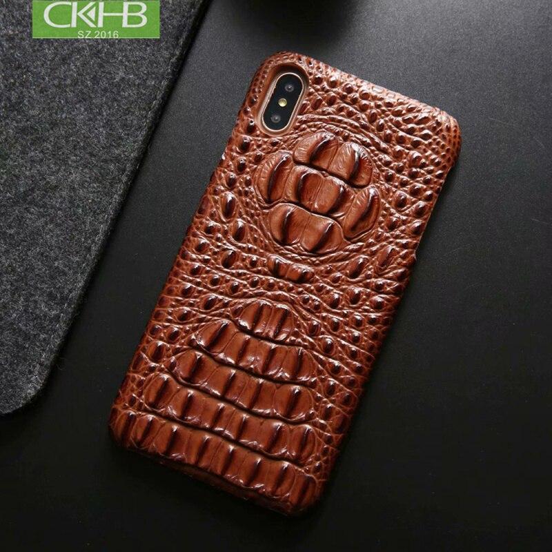 Funda de cuero genuino CKHB para iphone XS Max Luxury 3D funda de teléfono con patrón de cabeza de cocodrilo para iphone X XR funda trasera