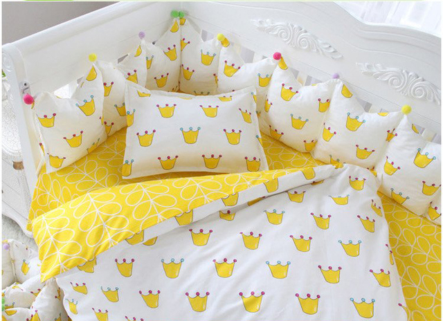 7 unid cuna infantil kids room dormitorio bebé set nursery bedding amarillo corona cuna bedding set para nlewborn bebés