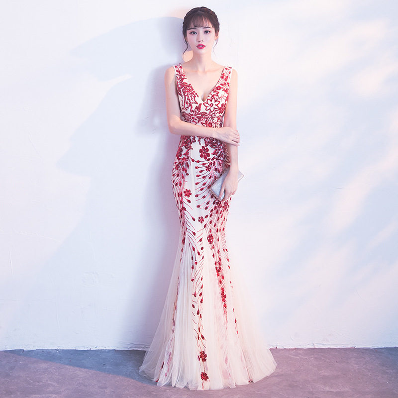 White Embroidery Cheongsam Long Traditional Chinese Vintage Dress Red Mermaid Wedding Gown Sexy Split Qipao Dresses