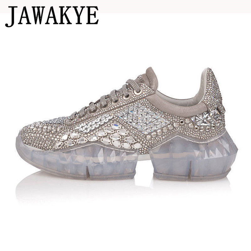 Spring daddy casual shoes Woman bling bling crystal Trainers creeper sneakers thick bottom platform rhinestone tenis