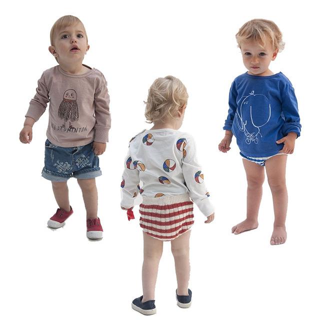 Bobo Choses 1-6A Bebés Meninos Meninas Camisetas 2017 Novas Crianças de Algodão Crianças Badminton Basquete Camisolas de Manga Longa Encabeça Tee