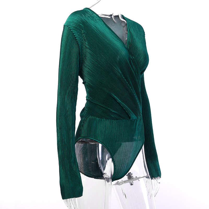 HTB1RUHITCrqK1RjSZK9q6xyypXas - InstaHot Sexy Long Sleeve V Neck Bodysuit for Women Summer New Fashion Green Textured Shirts Button Tops Elegant Playsuits