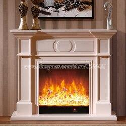 الزخرفية مدخنة التدفئة الموقد مجموعة W120cm خشبية رف زائد الكهربائية الموقد إدراج الموقد أدى البصرية الاصطناعي لهب