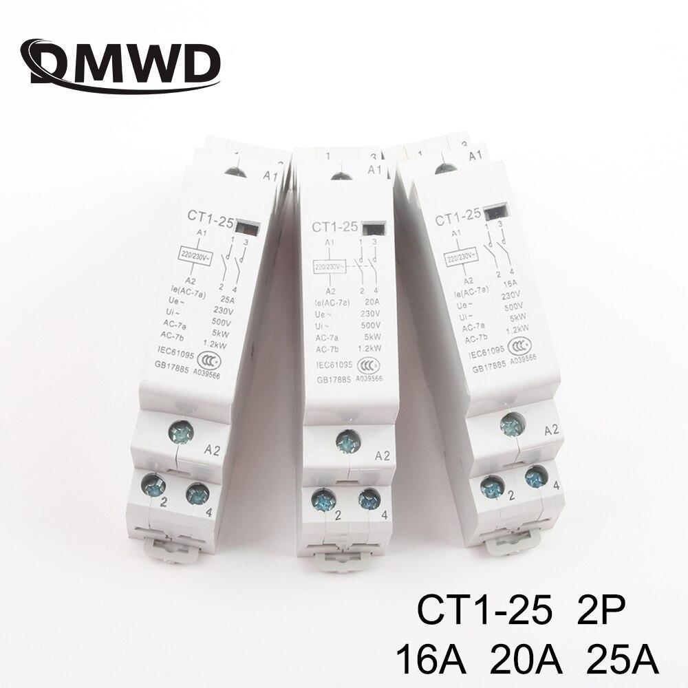 CT1-25 2P 16A 20A 25A 220V/230V 50/60HZ Din Rail Household Ac Modular Contactor 2NO 1NO1NC 2NC Household Contact Module