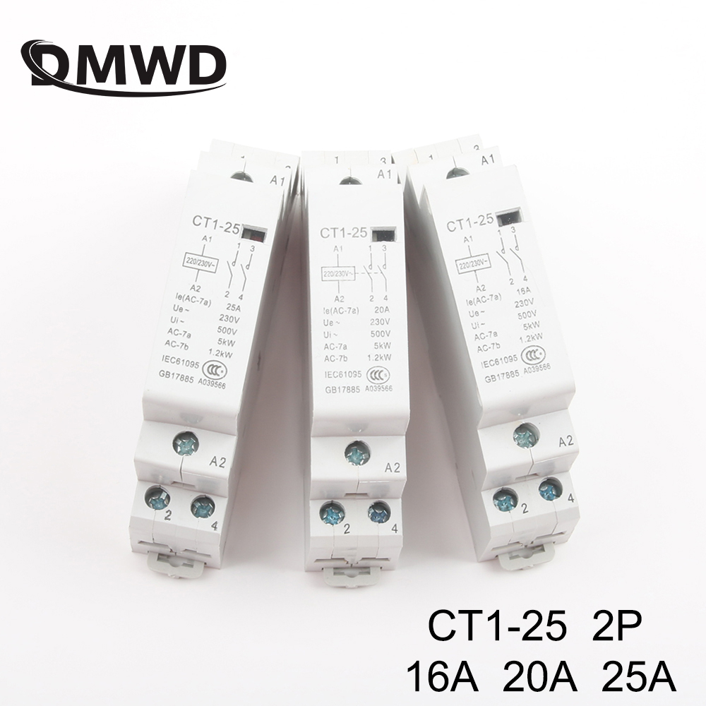 CT1-25 2P 16A 20A 25A 220V/230V <font><b>50</b></font>/60HZ Din rail Household ac Modular contactor 2NO 1NO1NC 2NC Household contact module image