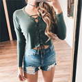 Sexy Knitted Winter Sweater Women Pullover Mujer Jumper Sweater Autumn Clothes Lace Up V neck Long Sleeve Party Sweater Crop Top