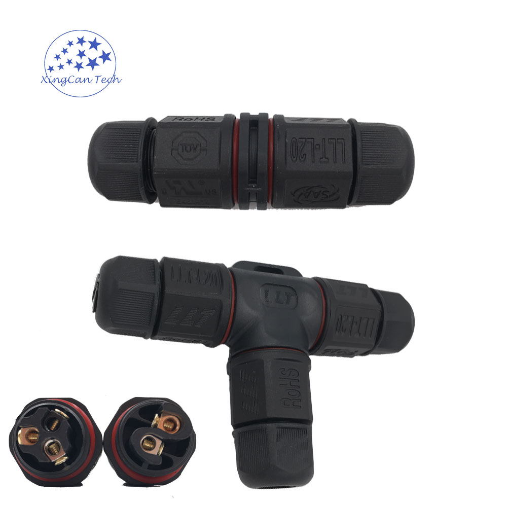 High Quality Waterproof Cable Connector T I Type SAA TUV CE IP67 Waterproof Wire Connector 2pin 3pin Cable Screw Connector llt l20 4 pins t type waterproof connector ip67 led power cable connector outdoor wire connector