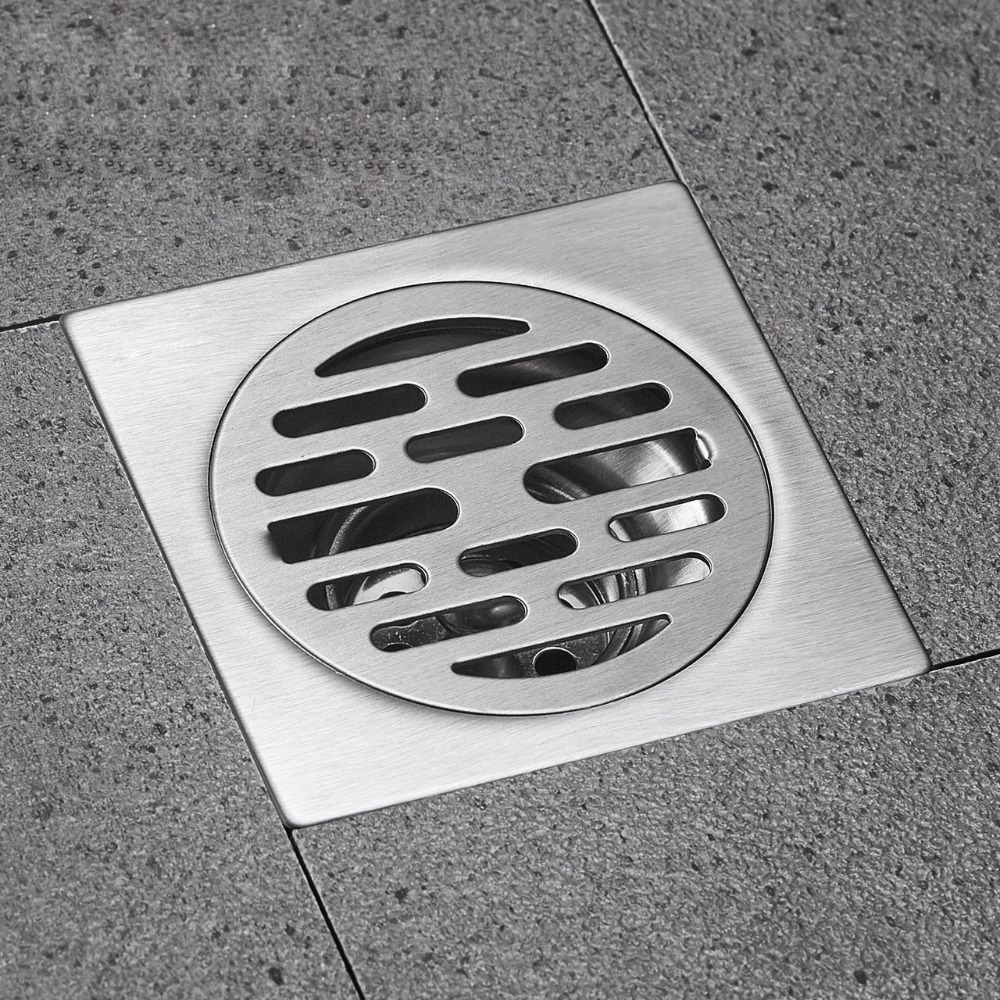 Square Floor Drain SUS 304 Stainless Steel Waste Grates Bathroom Shower  Drain Large Flow Deodorant Waste Drain TP 13 In Drains From Home  Improvement On ...