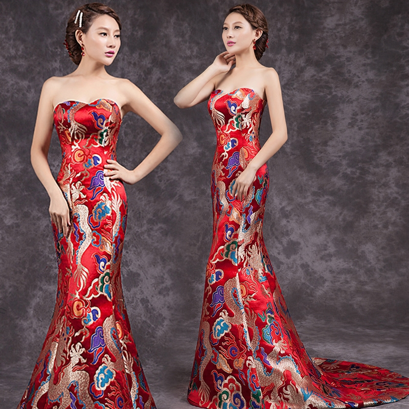 New china long qipao wedding dress oriental qipao dresses for Chinese style wedding dress