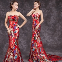 New China Long Qipao Wedding Dress oriental qipao dresses Chinese style dress traditional Chinese cheongsam new cheongsam dress long red lace evening dresses vintage elegant lace lady chinese traditional cheongsam china style wedding