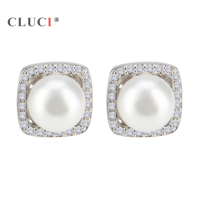 Cluci Hot S 925 Sterling Silver Square Earrings Trendy Pearl Stud For Women New Vintage
