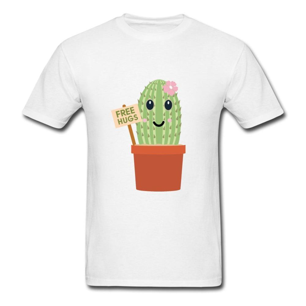 Print Logo On Shirt Mens Cartoon Cactus Hugs Short Sleeve Fashion