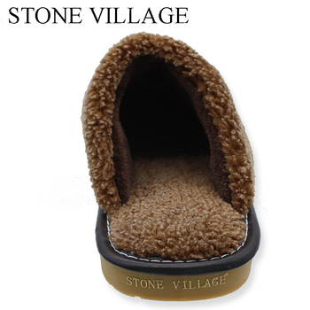 Plus Size 35-44 Genuine Leather Warm  Winter Home Slippers Non-Slip Thick Warm House Shoes Cotton Women Men Slippers 5 Colors 4