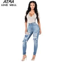 4303eaa8f540f Sexy Jeans Femme Jeans Pour Filles Stretch Vintage Trou Déchiré Gland Bouton  Poches Taille Haute Skinny Jeans Pantalons Féminins