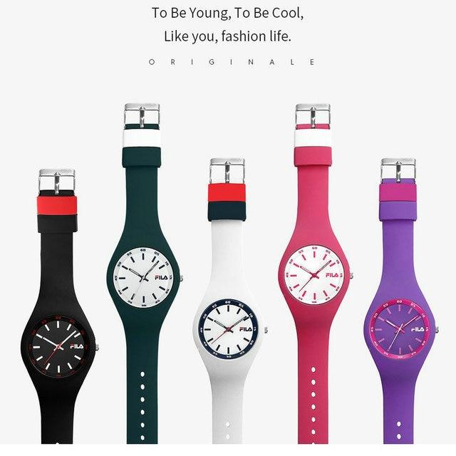 Free Shipping 2PCE/Lot Fila Quartz Watch Silicone Strap Top Brand High Quality C