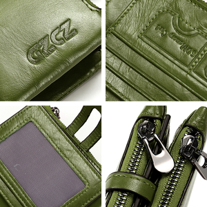 Image 4 - Carteiras curtas Dos Homens Das Mulheres Carteira de Couro Genuíno Nova Marca de Design de Moda Coin Purse Zipper & Ferrolho Com Suporte de Cartão de Bolso verde Vermelho