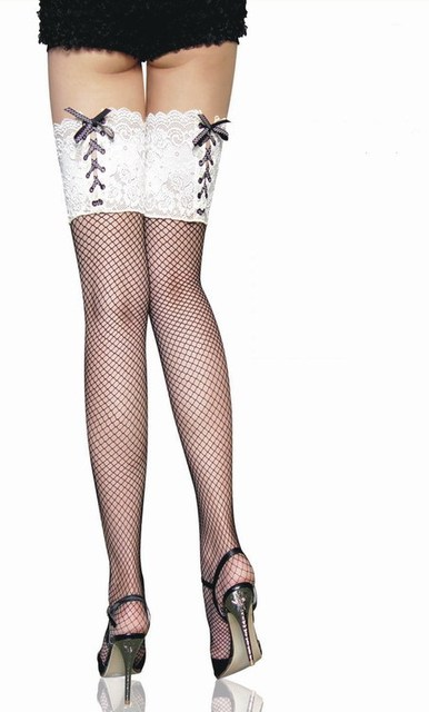 7f213aebf Women Fishnet Stockings Sexy Black Hold Up Stockings Thigh High White Lace  Embroideries and Bow-