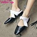 Vallkin 2017 plaza med talón de las mujeres bombas de cuero genuino informal resbalón de los zapatos de Dedo Del Pie Cuadrado Bombas de Verano Zapatos de Boda del Tamaño 34-39