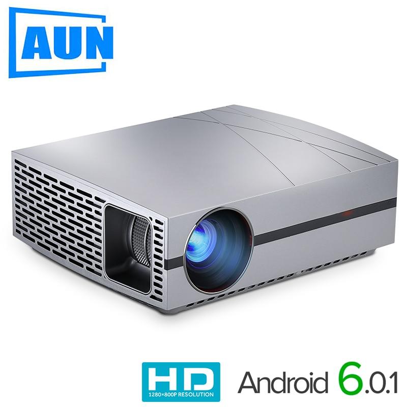 AUN LED Projector F20, (Optional Android Projector Suppor 4K,AC3) 4000Lumens 1280*800 Resolution,HDMI,VGA,USB,1080P,HIFI Speaker