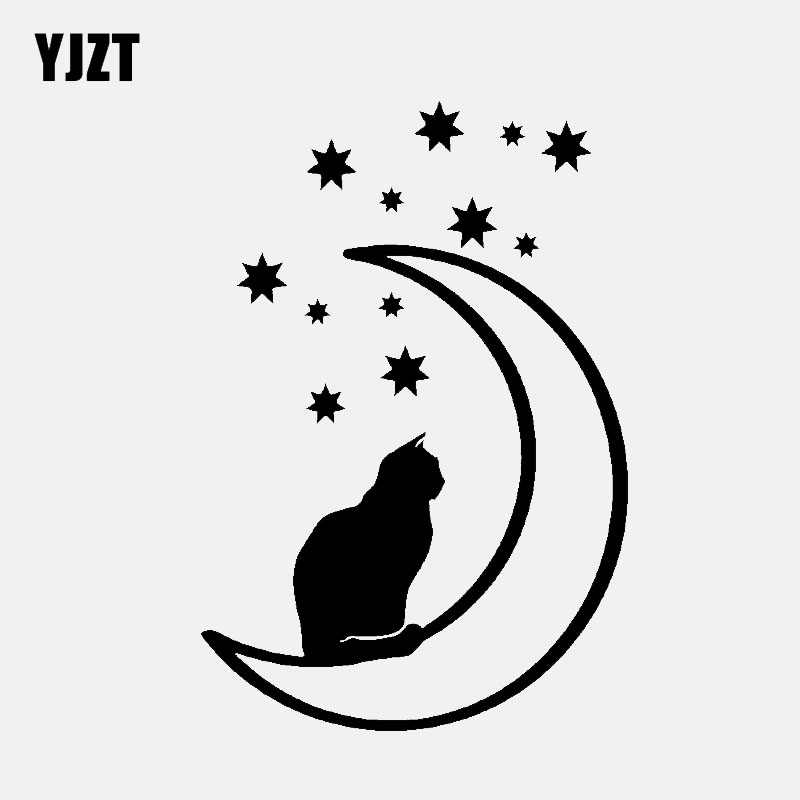 YJZT 10.1CM*15CM Cat Moon And Stars Vinyl Car Sticker Animal Decal Pet Decor Black/Silver C3-0713