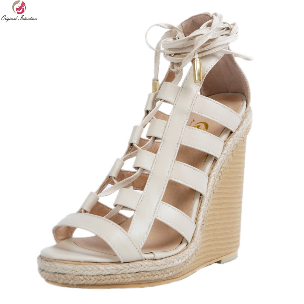 Original Intention Fashion Women Sandals Elegant Platform Peep Toe Wedges Sandals Beautiful Beige Shoes Woman Plus US Size 4-15 phyanic 2017 gladiator sandals gold silver shoes woman summer platform wedges glitters creepers casual women shoes phy3323