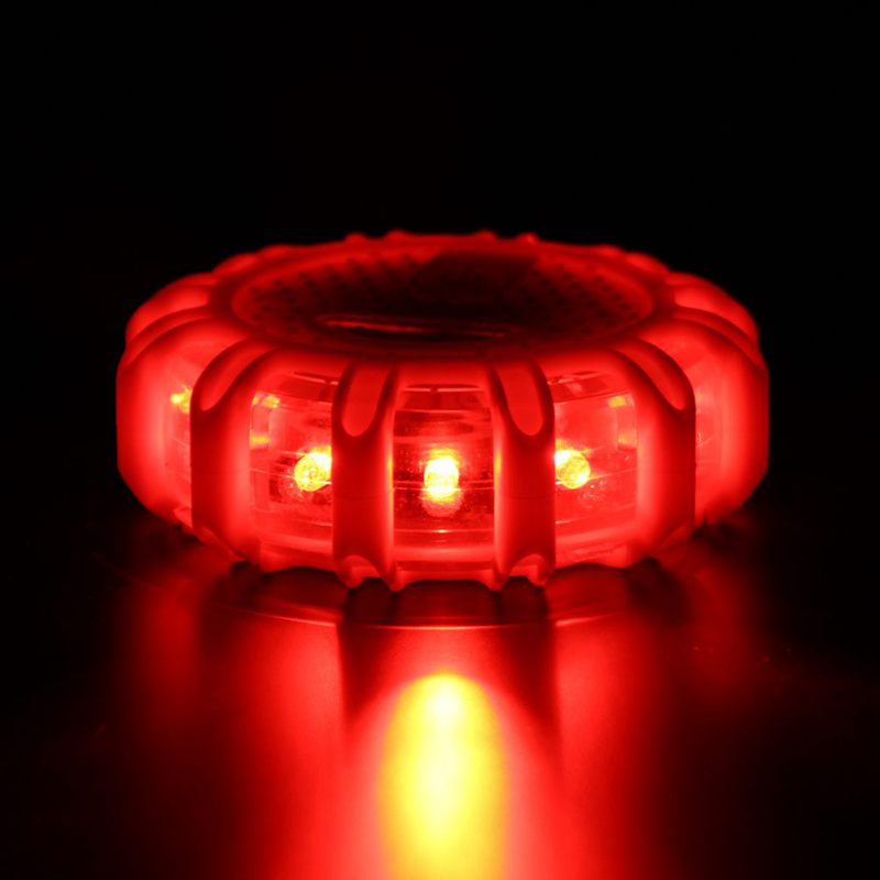 1pcs 12 LED Emergency Safety Flare Red Road Flare Magnet Flashing Warning Night Lights Roadside Disc