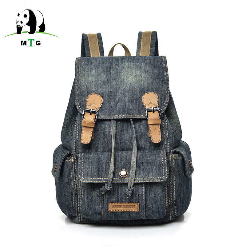 Womens Backpack School Travel Bags For Teenagers Girls Jeans Color Backpacks Female Larg ...