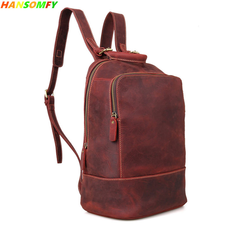 0a04f0e8b765 2018 New Genuine Leather Women backpack crazy horse leather retro men and  women Shoulder Bags female
