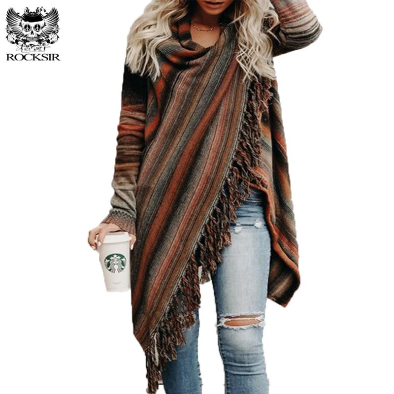 ROCKSIR 2018Women Irregular Knitted Jacket Coat Tassel Sweater Cardigan Sueter Vintage Ethnic Pullover Outwear Spring Autumn Top