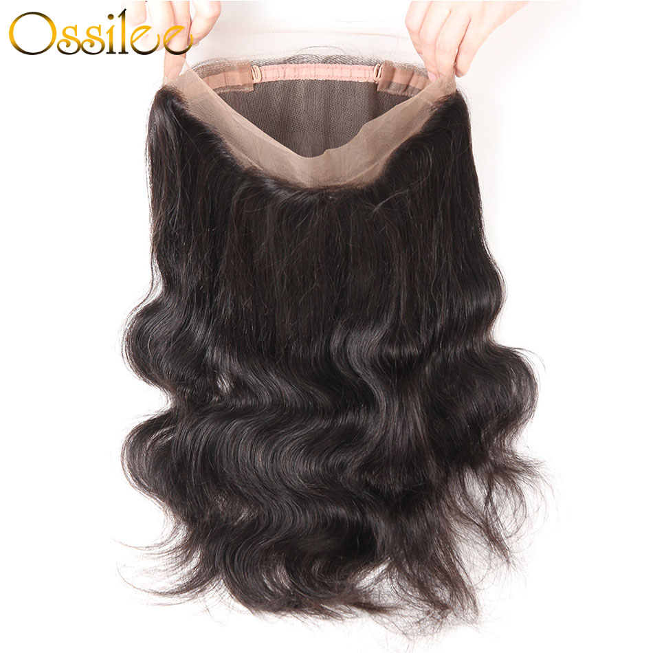 Ossilee Brazilian Body Wave 360 Lace Frontal Pre Plucked with Baby Hair Lace Frontal Closure Remy Human Hair Closure