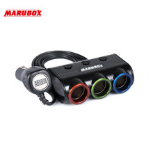 Marubox M12 Разветвитель пригуривателя в автомобиль с USB и Цифровой автомобильный вольтметр 2 USB 3.1A 3 гнезда пригуривателя мощность 120 Ватт Длина кабеля 1 метр качественный провод и пластик