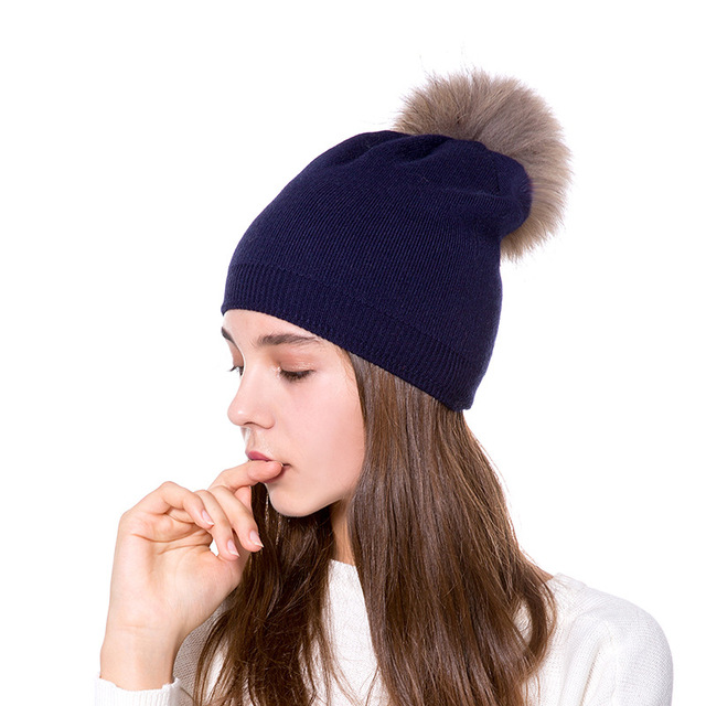 79a716e891e Lady Genuine Ratterer Ball Head Cap women warm Wool hats Cashmere Knit  girls solid color beanies