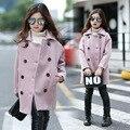 Детская Одежда Девушка Корейской Шерстяные Свободные Пальто Утолщение Шутник Шерстяное Пальто Kids Clothing