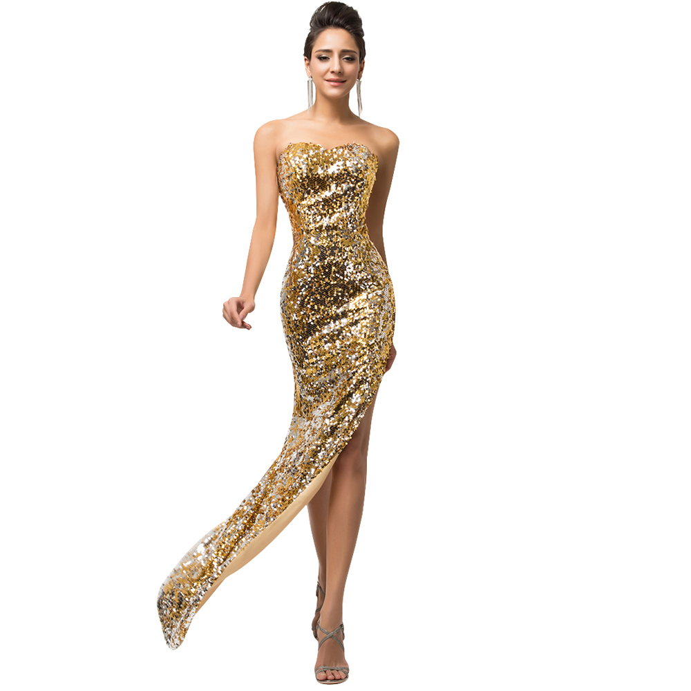 Wedding Gold Gown compare prices on gold evening gown online shoppingbuy low price black mermaid long dresses with sequins high split luxury gowns 2017 backless wedding