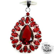 Guaranteed Real 925 Solid Sterling Silver 4.1g Deluxe Top AA Red Blood Ruby Cubic Zirconia Pendant 36x22mm