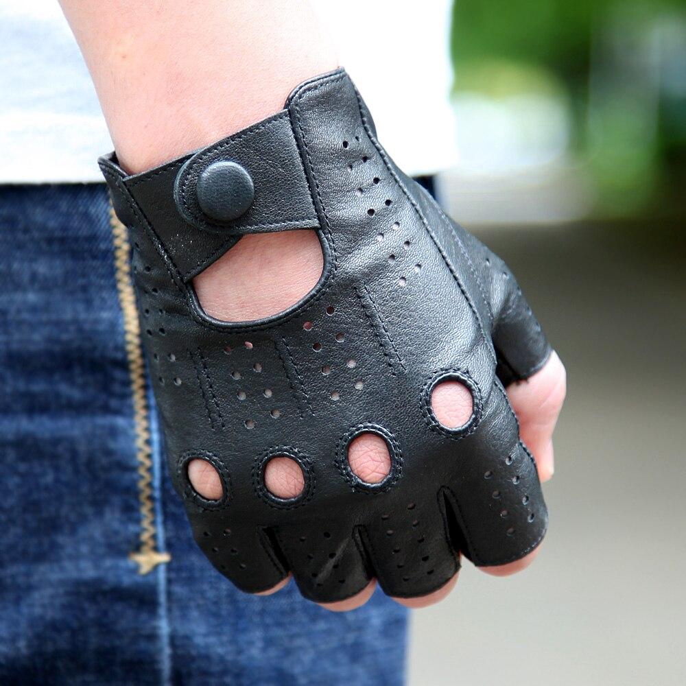 2018 les derniers gants en cuir véritable Semi-doigt de haute qualité hommes Section mince conduite mitaines en peau de mouton gants M046P-5