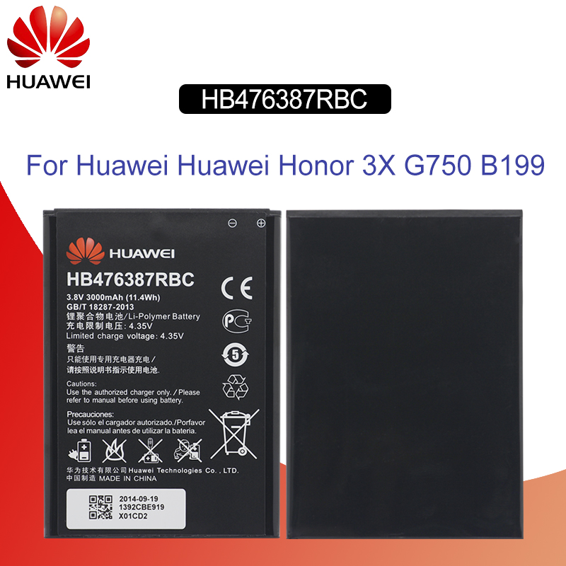 Original Battery For <font><b>HUAWEI</b></font> HB476387RBC 3000mAh For <font><b>Huawei</b></font> Honor 3X <font><b>G750</b></font> <font><b>G750</b></font>-<font><b>U10</b></font> <font><b>G750</b></font>-T01 G7-T00 B199 Replacement Phone Battery image