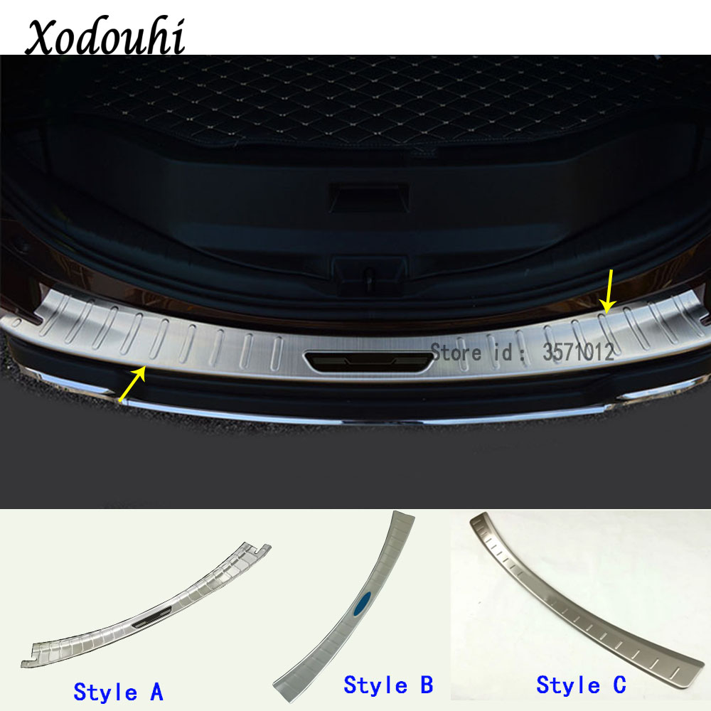 For Toyota RAV4 2016 2017 2018 car styling Rear Bumper Trunk Threshold Door Sill Outer Protector Cover Trim Stainless Steel 1pcs stainless steel door side body garnish molding cover trim for toyota rav4 2014 2017 exterior decor strip car styling accessories