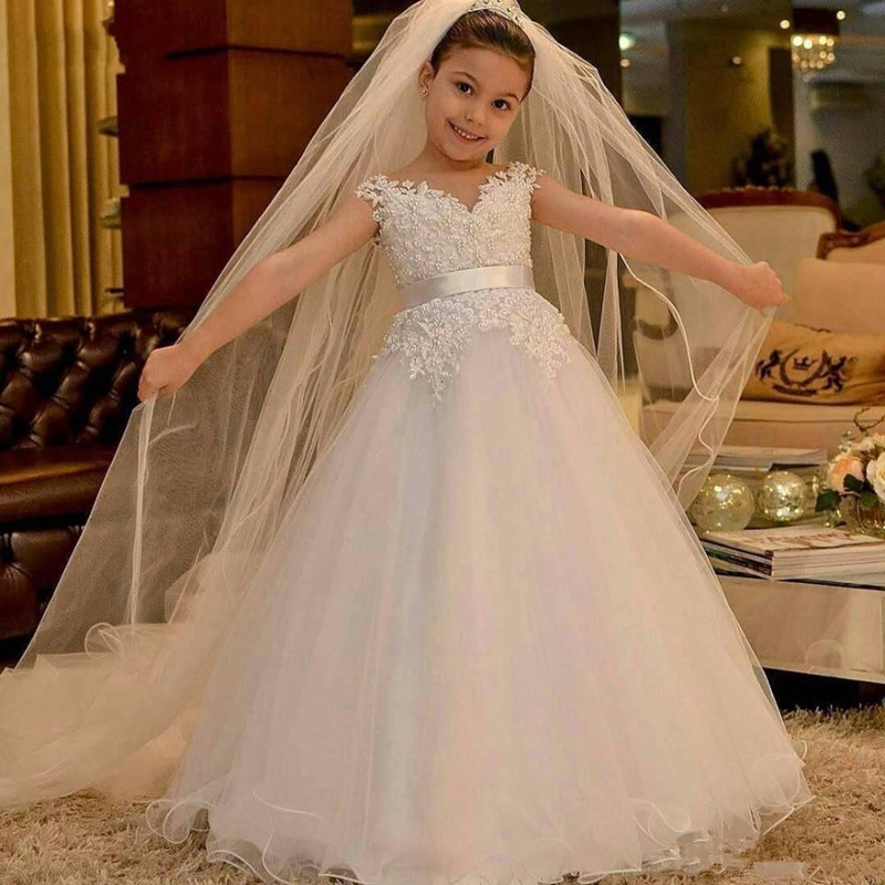 White Flower Girl Dresses For Weddings Party Ceremony Gown Cap Sleeves Tulle Lace First Communion Dresses For Little Girls