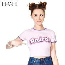 HYH HAOYIHUI Women Crop Tops New Fashion Letter Printed Contrast Color Weird Lady T-shirt Cute Slim Tees Short Sleeve O-Neck