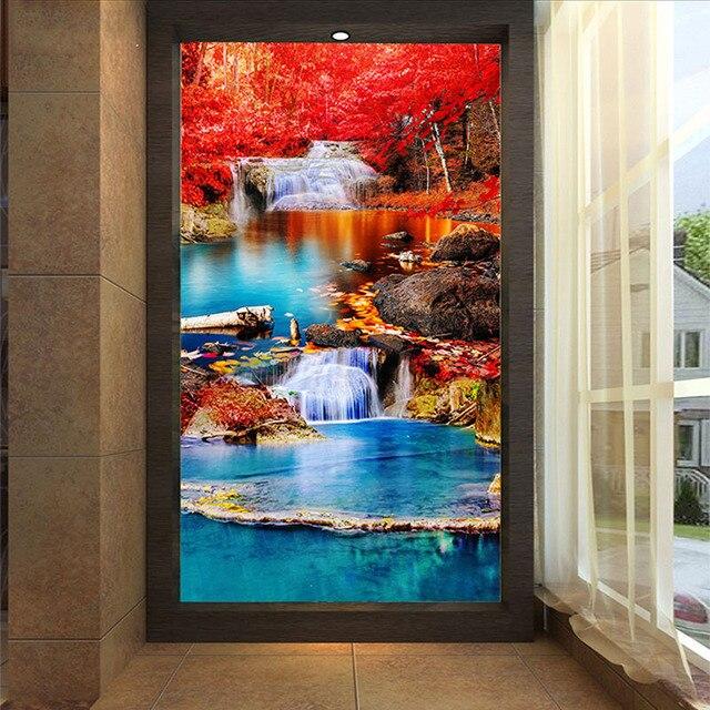 Custom Foto Wand papier 3D Wasserfälle Natur Landschaft Tapete ...